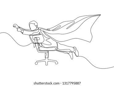 One line drawing of young happy business man spreading a wing and pretend flying using an office chair. Business concept continuous line draw design illustration