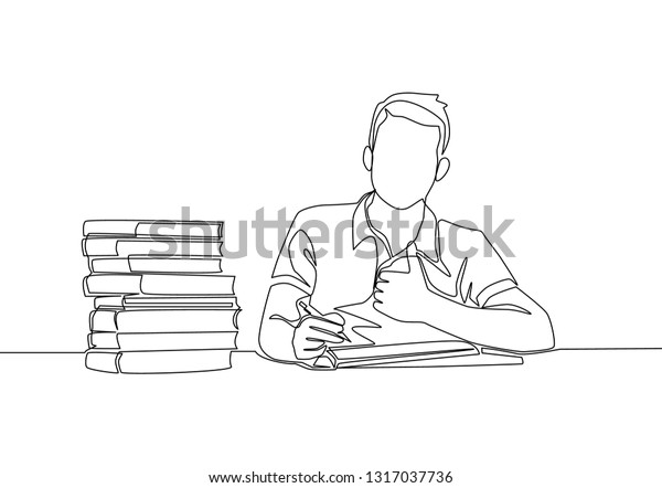 One Line Drawing Young Happy Male Stock Vector (Royalty Free