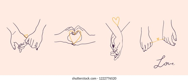 One line drawn holding hands. Saint Valentine's day vector set. Pink background. All elements are isolated