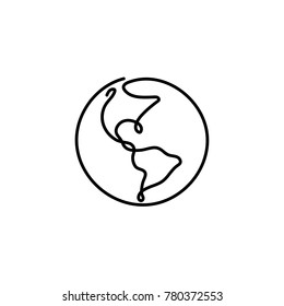 One line earth design. Hand drawn minimalism style vector illustration.
