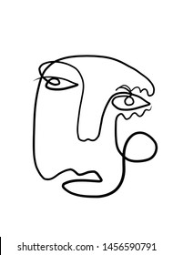 One line face drawing. Modern art.