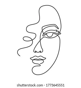 One line face. Minimalist continuous linear sketch woman face. Female portrait black white artwork outline vector hand drawn illustration. Modern art girl head for beauty salon logo