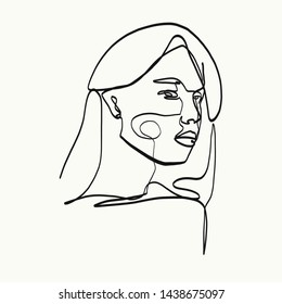 one line female model profile portrait. aesthetic beauty simple design
