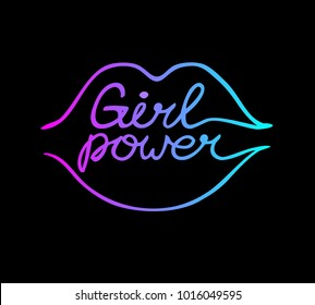 One line female neon lips with girl power inscription isolated on black background. Feminist slogan. Phrase for t-shirts, posters, and cards.