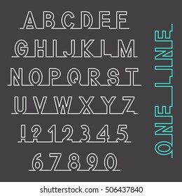 One line font, latin alphabet letters and numbers, white isolated on grey background, vector illustration.
