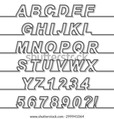 One Line Font Latin Alphabet Letters Stock-Vektorgrafik (Lizenzfrei ...