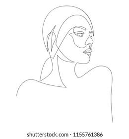 Ein-zeiliges Porträt-Design für Mädchen oder Frauen. Handgezeichnete minimalistische Vektorgrafik