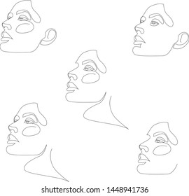 One line girl or woman portrait design set. Hairstyle, fashion concept, woman beauty minimalist, vector illustration for t-shirt, slogan design print graphics style