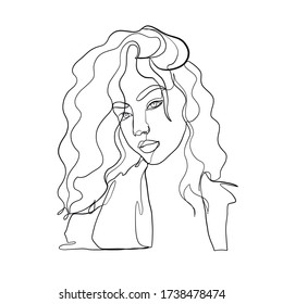One line girl or woman portrait. Minimalist simple icon of female silhouette of face. Abstract linear icon. Hand drawn vector illustration. Design logo for beauty salon, tattoos, decorations.