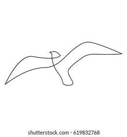 One line gull or seagull flies design silhouette.Hand drawn minimalism style vector illustration