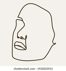 One line Hand drawn abstract face.  Minimal art. Trendy style.