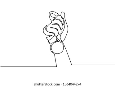 one line hand holding medal of winner symbol. Award and reward continuous hand drawn sketch vector illustration with simplicity design.