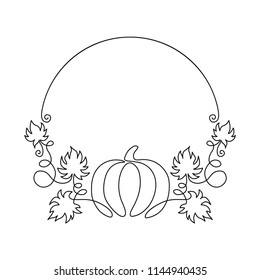 One line harvest. Autumn nature vector sketch. Hand drawn pumpkin with leaves isolated on white background. Line art vintage round frame.