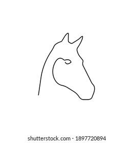 One line horse design. Minimalism style vector illustration icon animal