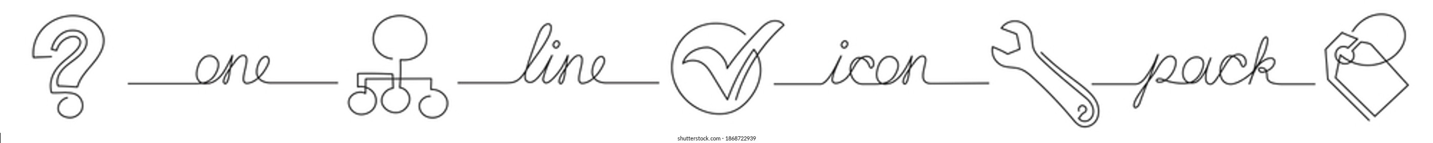 one line icon pack of question diagram tools mark label