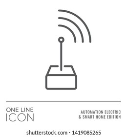 One Line Icon Series - Transmitting Antenna Sign as Radio Signal Remote Control Flat Outline Stroke Style Symbol in House Automation Electric and Smart Home Edition - Vector Pictogram Graphic Design