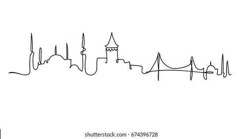 One line Istanbul silhouette design. Hand drawn minimalism style vector illustration.
