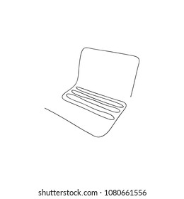 One line laptop. Hand drawn vector illustration.