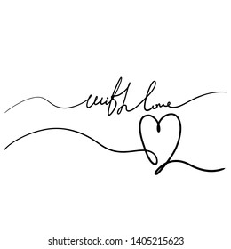 One line lettering - Love. Beautiful tangled divider shape. Vector hand drawn scribble illustration - isolated