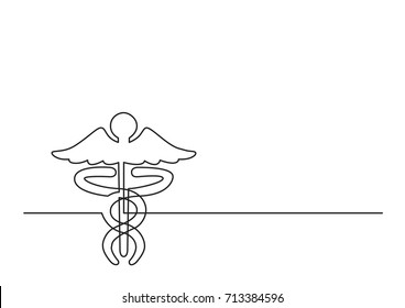 one line logo design of caduceus as a symbol of medicine