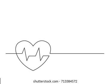 one line logo design of heart health
