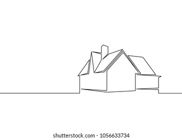 one line logo design of real estate house market agency