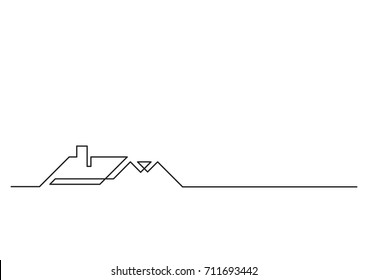 one line logo design of real estate house sale agency