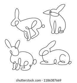 one line logo rabbit