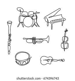 One line musical instruments design. Hand drawn minimalism style vector illustration.