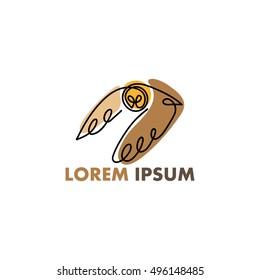 One line owl flies design silhouette.Hand drawn minimalism style vector illustration