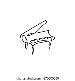One line piano instrument design. Hand drawn minimalistic style vector illustration.