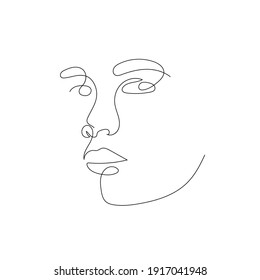 One line portrait. Hand drawn abstract face.  Minimal art. Trendy style.