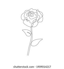 One line rose design. Abstract simple floral drawing minimalist botanical art for print, tattoo. Vector continuous line illustration