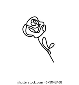 One line rose design. Hand drawn minimalism style vector illustration.