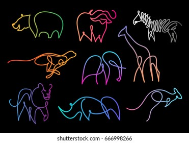 One line safari wild animals design silhouette.Hand drawn minimalism style vector illustration