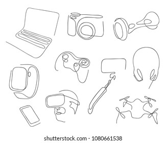 One line set of modern electronic gadgets for job, entertainment and active life. Hand drawn vector illustration.