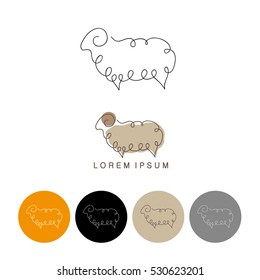 One line sheep design silhouette. Logo design. Hand drawn minimalism style vector illustration.