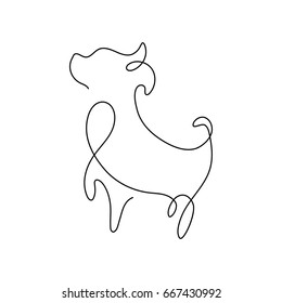 One line silhouette design of puppy.vector illustration