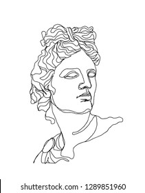 One line skech. Apollo sculpture.