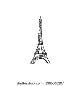 One line sketch of Eiffel Tower/ One line sketch of Paris