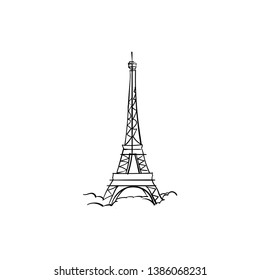 One line sketch of Eiffel Tower/ One line sketch of Paris