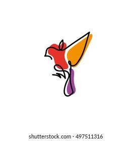 One line sparrow flies design silhouette.Hand drawn minimalism style vector illustration