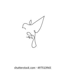 One line sparrow flies design silhouette.Hand drawn minimalism style vector illustration