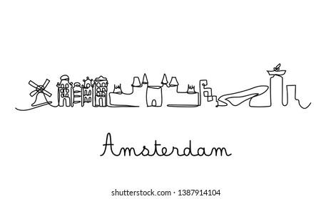 One line style Amsterdam city skyline. Simple modern minimaistic style vector.