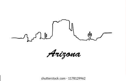 One line style Arizona skyline. Simple modern minimaistic style vector.