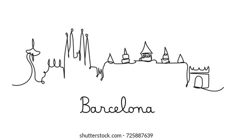 One line style Barcelona city skyline. Simple modern minimalistic style vector.