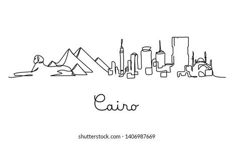 One line style Cairo city skyline. Simple modern minimaistic style vector.