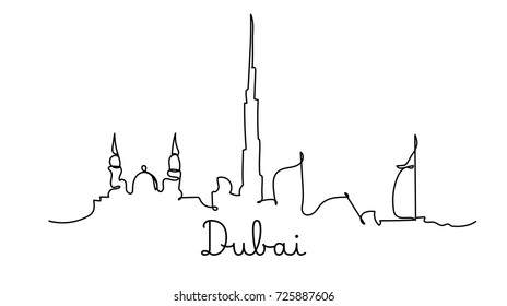One line style Dubai city skyline. Simple modern minimalistic style vector.