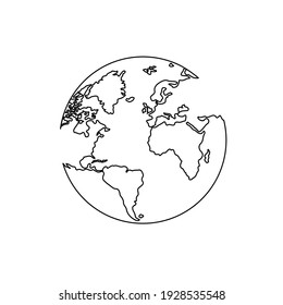 One line style earth planet ,Simple modern minimalism .