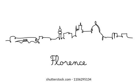 One line style Florence city skyline. Simple modern minimaistic style vector.